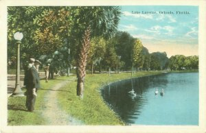 Lake Lucerne, Orlando, Florida; Swans, Men in Hats Vintage White Border Postcard