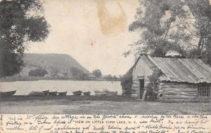 Little York Lake New York~Log Boat House~Rowboats~Our Cottage on Other Side~1906