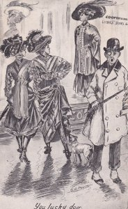 AS; You Lucky Dog, Fashion Show, Little dog looking up dress, 1900-10s; G.A...