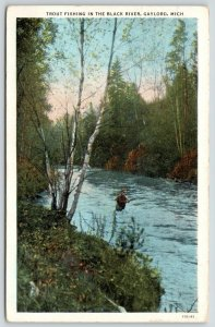 Gaylord MI~Trout Fishing in Lower Black River (I Understand Sturgeon, Too)~1938