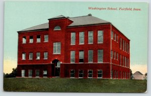 Fairfield Iowa~Washington School~c1910 Postcard