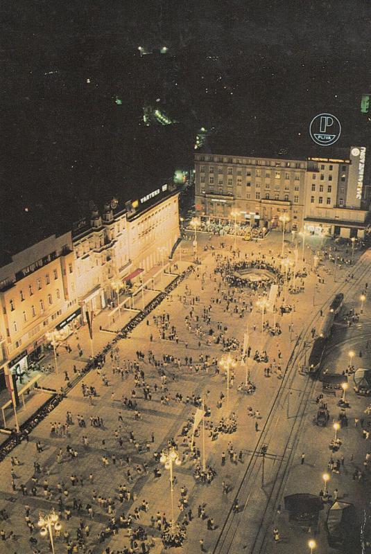 Zagreb Croatia Shopping Centre Square At Night Postcard