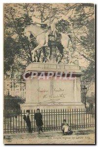 Old Postcard Paris Square des Vosges Louis XIII Statue