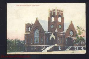 TULSA OKLAHOMA FIRST METHODIST CHURCH ANTIQUE VINTAGE POSTCARD 1908