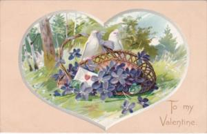 Valentine's Day Doves With Basket Of Flowers Tucks