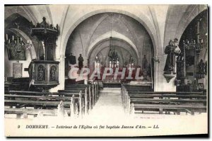 Postcard Old Domremy Interior of the Church and was baptized Jeanne D'Arc