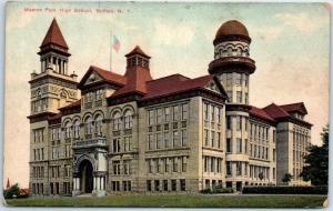 Buffalo, New York Postcard MASTEN PARK HIGH SCHOOL Building View c1910s Unused