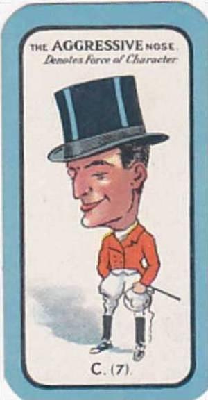 Carreras Small Vintage Cigarette Card The Nose Game No C7 The Aggressive Nose...