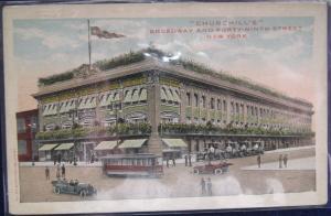 Churchills Broadway & Forty Ninth St NYC NY Valentine Souvenir Co Divided Back
