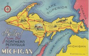 Map, Michigan, 30-40s; Northern Peninsula