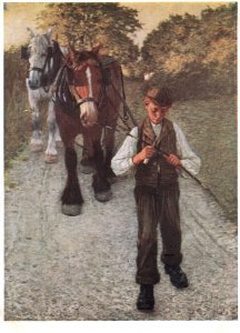 The Ploughboy Henry Thangue Painting Medici Postcard