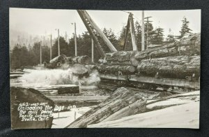 Mint Vintage Unloading Pacific Lumber Co Scotia CA Real Photo Postcard RPPC