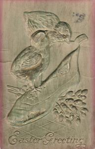EASTER; Embossed, Greeting, Chicks standing on shoe, Flowers, PU-1913