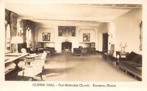 Evanston Illinois~Glenna Hall~1st Methodist Hospital~Fireplace RPPC 1920s