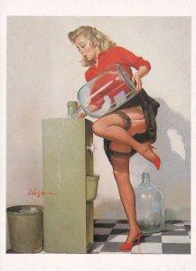 A Refreshing Lift 1940s Water Machine Upskirt Glamour Painting Postcard
