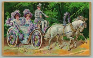 Two Ladies Ride~Horse Drawn Open Air Carriage Full Of Lavender Flowers~Man~Whip