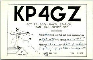 1948 Vintage PUERTO RICO Postcard QSL Amateur Ham Radio Card Naval Station