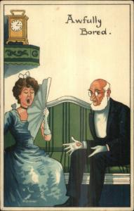 Woman in Ball Gown Bored w/ Old Bald Boring Husband Stewart & Woolf c1910
