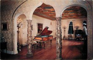 Sarasota~Ringling Residence~Grand Piano in Ballroom~Willy Pogany Paintings~1950