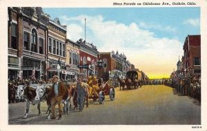 Guthrie~Oklahoma Avenue~89ers Parade Covered Wagon~Douglass Grocery~Drugs~1939