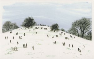 Primrose Hill Building A Christmas Snowman London Painting Postcard