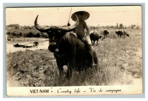 Vintage 1960's RPPC Postcard Vietnam Soldier Writing to Girlfriend Very Cool!