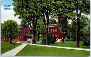 Angola, Indiana Postcard TRI-STATE COLLEGE Campus View Kropp Linen c1940s