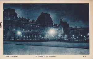 Le Louvre Et Les Tuileries, La Nuit, Paris, France, PU-1907