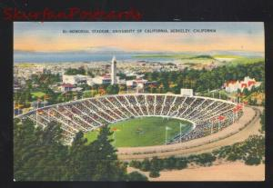 BERKELEY CALIFORNIA BEARS MEMORIAL FOOTBALL STADIUM VINTAGE LINEN POSTCARD