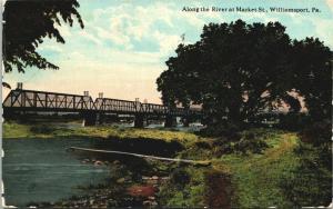 Williamsport PA~Single Plank Dock Along River @ Market Street Bridge~1913 PC