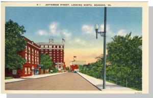 Roanoke, Virginia/VA Postcard, Jefferson Street, Near Mint!