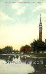 Lake and Tower, Water Works Park in Detroit, Michigan