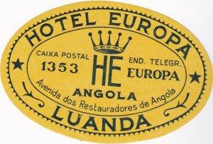 Angola Luanda Hotel Europa Vintage Luggage Label lbl0785