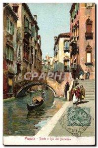 Old Postcard Venezia Ponte Rio Del Paradiso