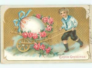 Pre-Linen Easter BOY TRANSPORTS GIANT EGG ON WHEELBARROW AB4229