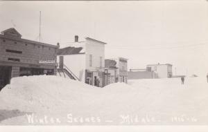 RP:  MIDALE, Saskatchewan, Canada, 1915-16; Main Street (covered by Snow)