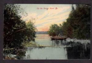 ME Songo River NAPLES MAINE POSTCARD Post Card 1908 PC
