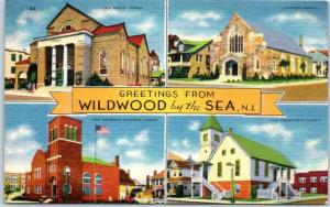 Wildwood-by-the-Sea, New Jersey Postcard 4 Church Building Views Linen 1938