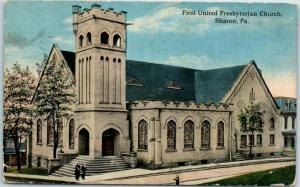 1917 SHARON Pennsylvania Postcard First United Presbyterian Church Street View