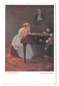 Ein Altes Lied Woman Weeping on Piano Setkowicz Artist Pocztowka Postcard
