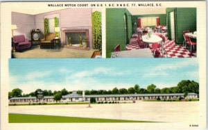 WALLACE, South Carolina  SC    Roadside  WALLACE MOTOR COURT c1940s  Postcard