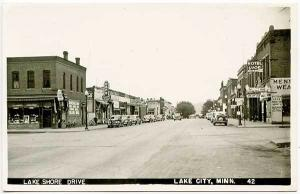 Lake City MN Street View Store Fronts Old Cars RPPC Real Photo Postcard