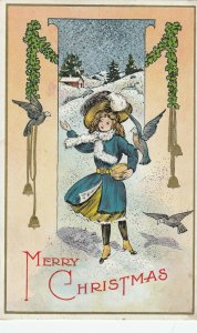 CHRISTMAS , 1914 ; Woman feeding birds