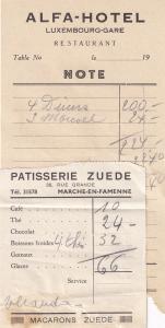Alfa Hotel Luxembourg Zuede Restaurant Macarons Patisserie 2x Old Receipt s