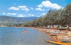 Penticton British Columbia~Okanagan Lake Beach~Kids~Boats~Surf~1950s Postcard