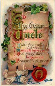 Greeting -  To My Dear Uncle       (embossed, gold)