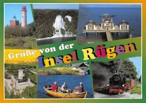 Gruesse von der Insel Ruegen, Leuchtturm Lighthouse Cliff Sea Bridge Train