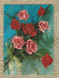 Postcard RED ROSES Beautiful Flowers Souvenir Continental