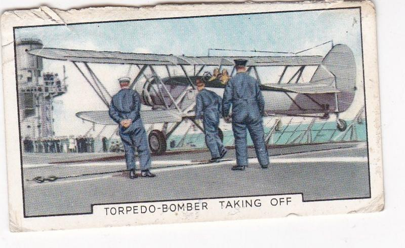 Cigarette Cards Gallaher Park Drive THE NAVY No 4 Torpedo-Bomber Taking Off