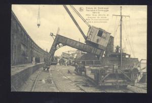BRUSSELS BELGIUM MINE SWEEPER CRANE DESTROYED WWI VINTAGE POSTCARD